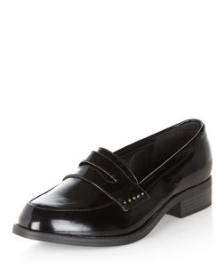 Wide Fit Black Patent Pin Stud Trim Loafers  | New Look