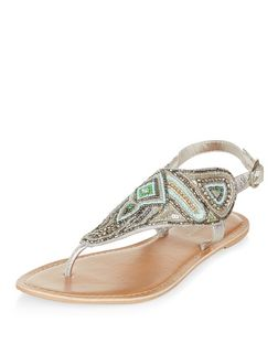 Mint Green Leather Beaded Sandals  | New Look