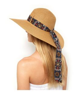 Navy Ribbon Dark Floppy Hat  | New Look