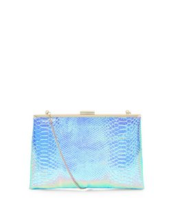Multicolour Iridescent Snakeskin Print Frame Clutch  | New Look