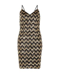 Black Zig Zag Sequin Cami Dress  | New Look