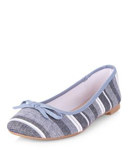 Blue Stripe Ballet Pumps  | New Look