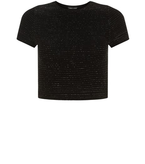 Black Ribbed Metallic Crop Top  | New Look