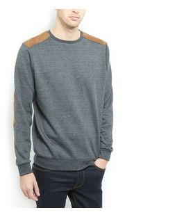 Dark Grey Patch Crew Neck Jumper | New Look