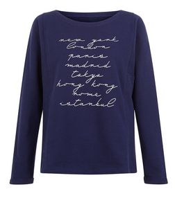 JDY Navy New York London Print Top | New Look