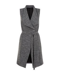 Black Fine Knit Waterfall Belted Sleeveless Jacket  | New Look