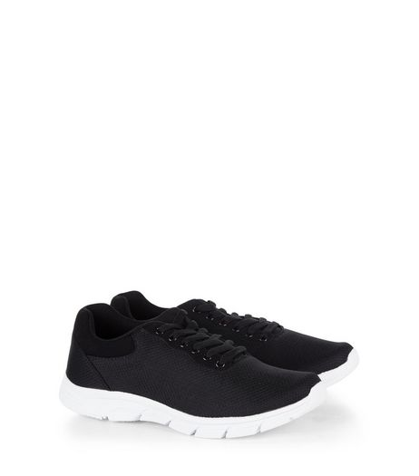 Black Lace Up Mesh Trainers | New Look