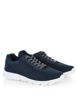 Navy Lace Up Mesh Trainers | New Look
