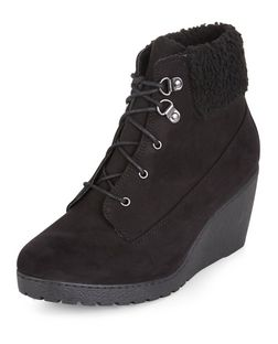 Teens Black Shearling Trim Lace Up Wedge Boots  | New Look