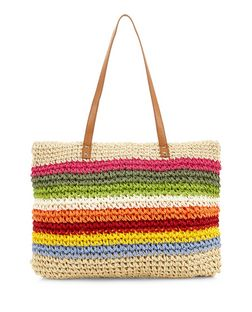Multicoloured Rainbow Straw Tote Bag  | New Look