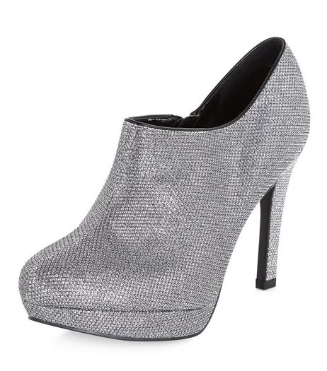Wide Fit Pewter Glitter Shoe Boots  | New Look