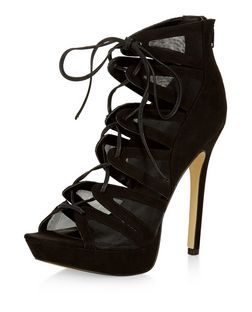 Black Lace Up Heels  | New Look