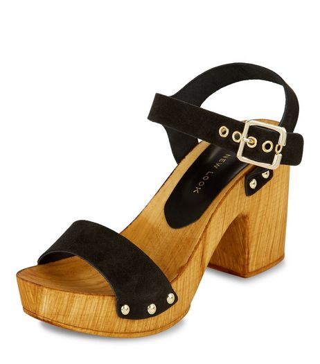 Black Leather Wooden Block Heel Sandals  | New Look