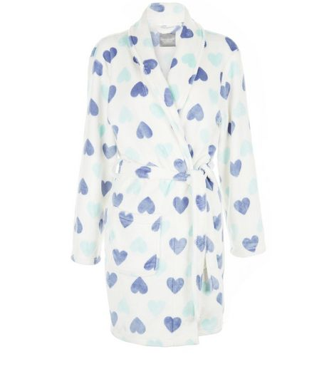 White Heart Print Dressing Gown  | New Look