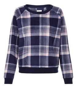 Blue Fleece Check Long Sleeve Pyjama Top | New Look