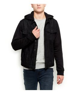 Black Jersey Sleeve Hooded Denim Jacket  | New Look