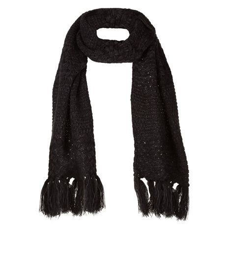 Black Knitted Fringe Hem Scarf  | New Look