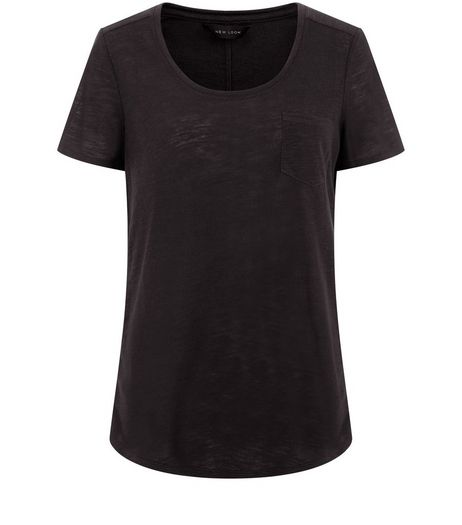 Black Pocket Front T-Shirt  | New Look