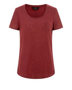 Burgundy Pocket Front T-Shirt  | New Look