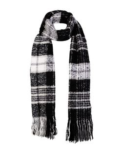 Black and White Boucle Check Scarf | New Look