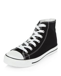 Black Lace Up Hi-Top Plimsolls  | New Look