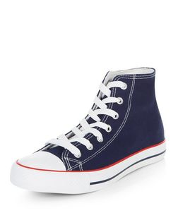 Navy Hi-Top Lace Up | New Look