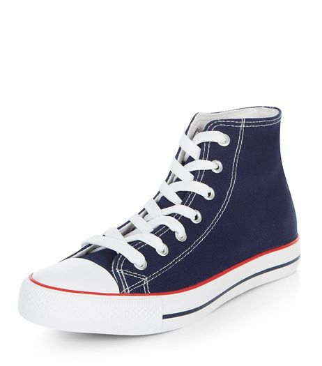 Navy Lace Up Hi-Top Plimsolls | New Look
