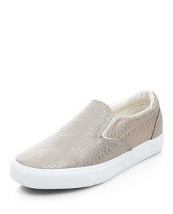 Pewter Snakeskin Print Slip On Plimsolls  | New Look