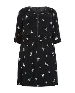 Plus Size Black Floral Print Zip Front Dress | New Look