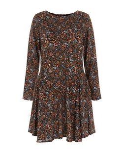 Black Floral Paisley Print Long Sleeve Skater Dress | New Look