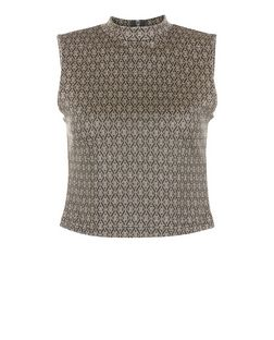 Gold Metallic Geo Jacquard High Neck Crop Top  | New Look
