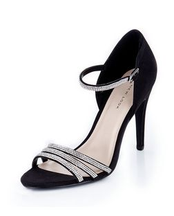 Black Embellished Ankle Strap Heels  | New Look