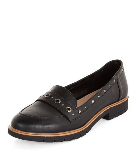 Teens Black Eyelet Stud Trim Loafers  | New Look