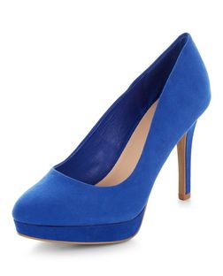 Wide Fit Bright Blue Platform Court Shoes  | New Look