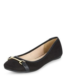Teens Black Metal Trim Pumps  | New Look