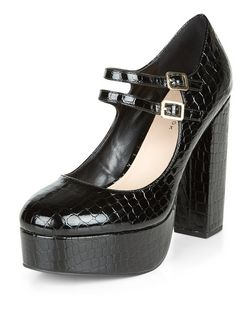 Black Croc Texture Double Strap Platform Heels | New Look