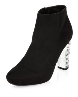 Black Suedette Jewel Heel Boots  | New Look