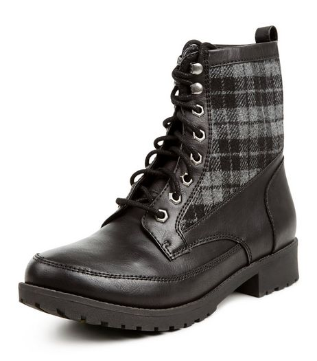 Black Check Panel Lace Up Boots  | New Look
