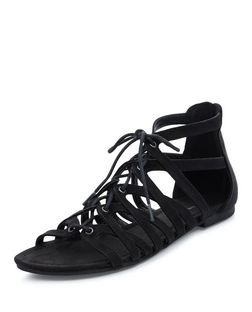 Teens Black Ghillie Sandals  | New Look