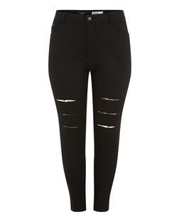 Plus Size Black Multi Rip Skinny Jeans | New Look