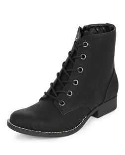 Black Lace Up Worker Boots  | New Look