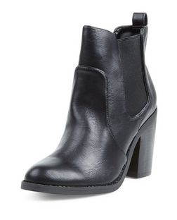 Black Chunky Chelsea Heeled Boots | New Look