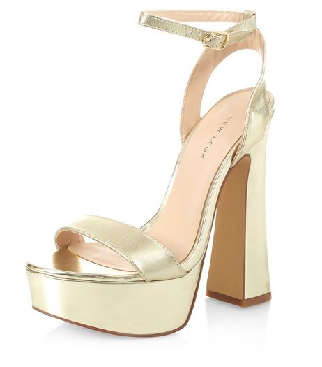 Gold Leather Flared Heel Sandals | New Look