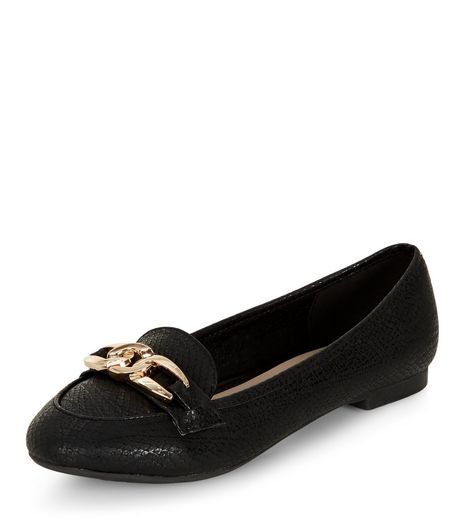 Wide Fit Black Chain Loafers | New Look