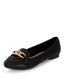 Wide Fit Black Chain Loafer  | New Look