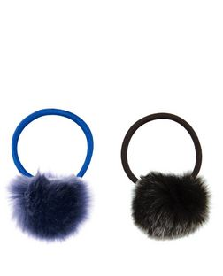 2 Pack Blue and Grey Pom Pom Hair Bands  | New Look