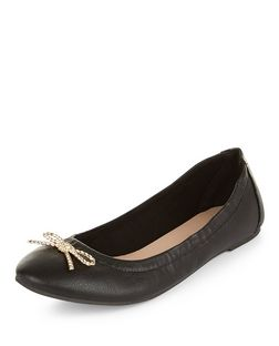 Teens Black Leather-Look Bow Ballet Pumps  | New Look