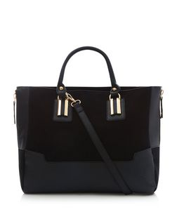 Black Suedette Panel Tote | New Look