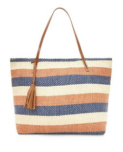 Camel Stripe Tassel Strap Tote Bag | New Look