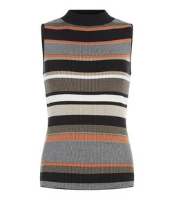 Brown Ribbed Stripe Funnel Neck Sleeveless Top  | New Look